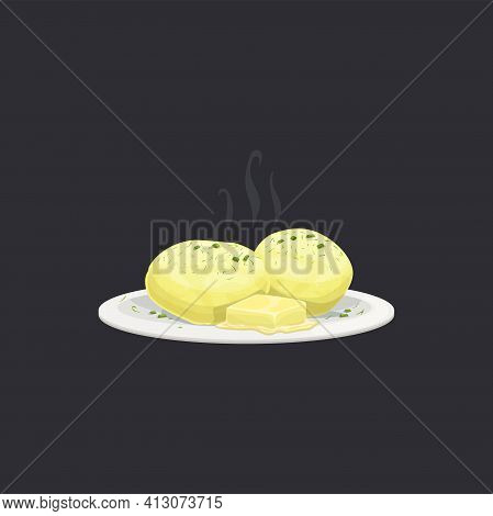 Boiled Potato With Dill And Butter Isolated Cooked Food With Stream On Plate. Vector Buttered Young