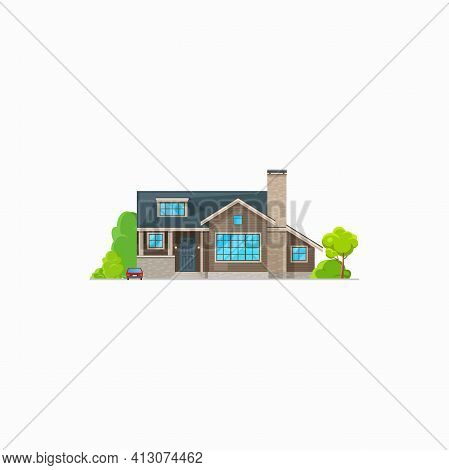 Patio Facade Exterior Isolated Chalet Building Private House. Vector Villa With Windows And Decorati