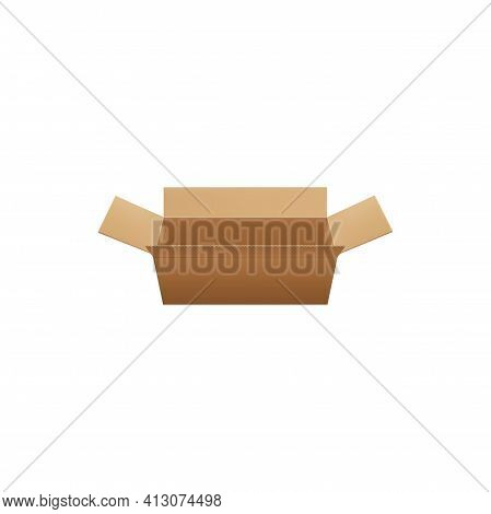 Paperboard Crate, Shipment And Transportation Item Isolated. Vector Paper Box Container, Shipment An