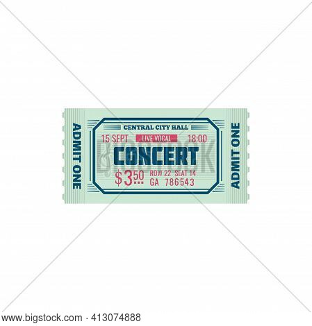 Ticket Grand Concert Hall World Famous Music Show Isolated Mockup Template. Vector Invitation On Orc