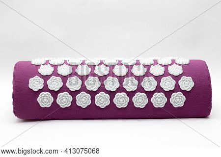 Purple Massage Acupuncture Pillow. Acupressure Mat For Relaxation