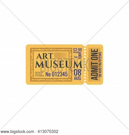 Full Ticket To Museum Of Art Raffle Voucher With Date And Price, Cutting Control Line. Vector Admit