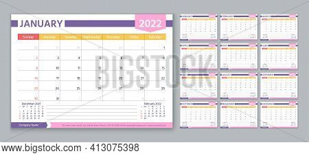 Planner 2022 Year. Calendar Template. Week Starts Sunday. Vector. Yearly Stationery Organizer. Table