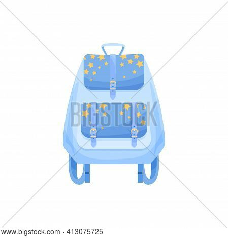 Kids Schoolbag Isolated Vector Icon, Cartoon Blue Rucksack With Yellow Stars. Cute Baby Backpack For