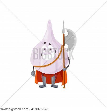 Cartoon Garlic Fairytale Hero Isolated Vector Icon. Funny Knight Vegetable Character In Cloak Holdin