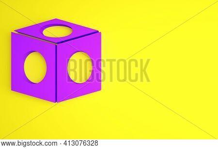 Purple Billiard Chalk Icon Isolated On Yellow Background. Chalk Block For Billiard Cue. Minimalism C