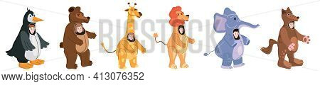 Set Actors In Animal Penguin, Bear, Giraffe, Lion, Elephant, Wolf Costume. Theme Party, Birthday Kid