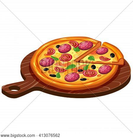 Pizza Isometric With Ingredients Tomato, Salami, Cheese, Mushrooms On Woodern Serving Tray. Vector I