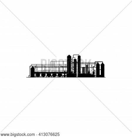 Chemical Or Refinery Plant, Pipeline Vector Icon, Black Silhouette Of Industrial Factory With Oil Or