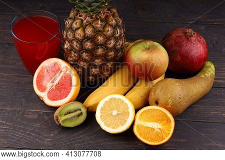 Pineapple And Exotic Fruits With Juice Exotic Fruits