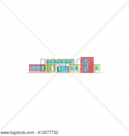 Elementary School Building Exterior Vector Icon, Campus Architecture. Public Primary Educational Ins
