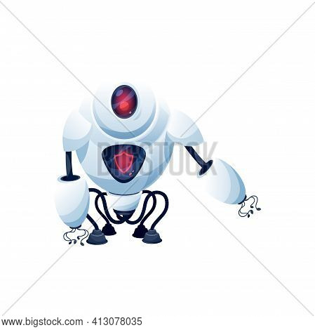 Cartoon Robot Vector Cyborg Character. Artificial Intelligence Technology, Toy Or Bot Guard With Dig