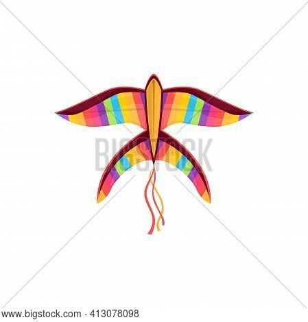 Kite In Shape Of Rainbow Color Bird In Sky Isolated Kids Toy. Vector Kite-balloon On Wind, Cartoon F