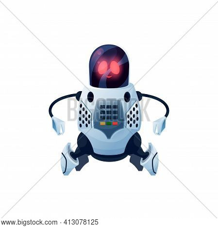 Modern Robot With Flexible Arms, Cyborg Android Cartoon Icon. Vector Cyber Space Mechanical Plastic