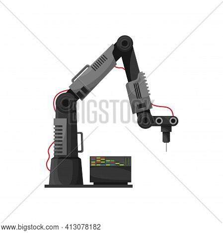 Welder Robotic Arm Isolated Industrial Machine Computer. Vector Welding Technology Automation, Engin