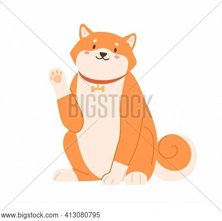 Cute Kawaii Dog Of Shiba Inu Breed Waving With Paw And Saying Hi. Greeting Gesture Of Adorable Japan