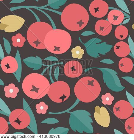 Seamless Pattern With Hawthorn: Hawthorn Branch With Flowers, Leaves And Berries. Crataegus Berries,