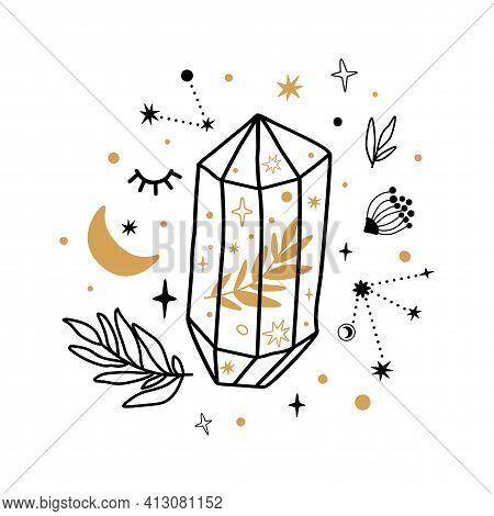 Celestial Symbols, Crystal Sketch. Hand Drawn Line Art Crystals, Botany Leaf, Moon, Stars. Scared Fl