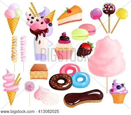Sweets Desserts Trendy Confection Colorful Icons Collection With Donuts Eclairs Cakes Lollies Macaro