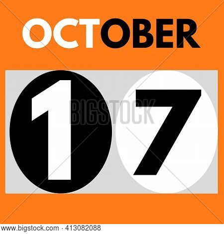 October 17 . Modern Daily Calendar Icon .date ,day, Month .calendar For The Month Of October