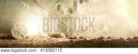 Stone Is Rolled Away From Empty Grave On Easter Morning. Jesus Christ Resurrection. Empty Tomb Of Je