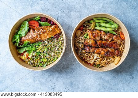 Japanese Yakitori Chicken And Poke Bowl. Take Away Healthy Food In Take Out Plastic Powl. Ready To E
