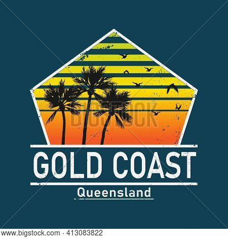 Gold Coast Vector Illustration On The Theme Of Surfing In Australia, Gold Coast City. Typography, T-