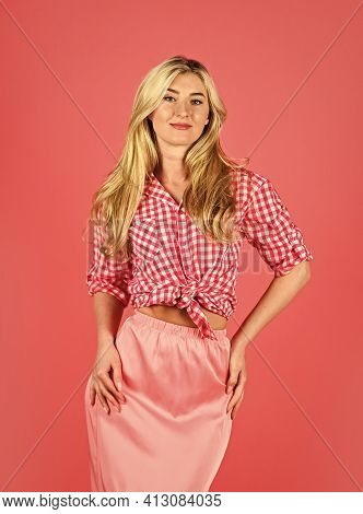 Hot Desirable Blonde. Playful Lady On Red Background. Pin Up Mood. Sexy Woman Wear Pin Up Clothes Se