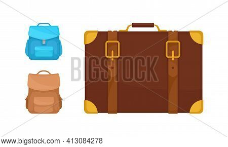 Backpack Or Knapsack And Trunk With Handle Vector Set