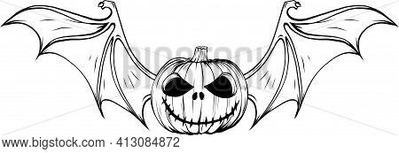 Draw In Black And White Of Halloween Pumpkin With Bat Wings Vector Illustration