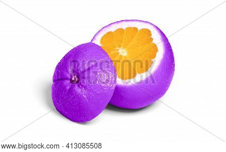 Weird Looking Cut Of Purple Orange Fruit, Isolated