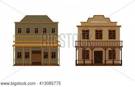 Western Building With Saloon Having Batwing Doors Vector Set