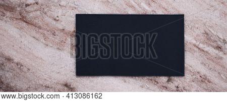Black Business Card Flatlay On Stone Background, Luxury Branding Flat Lay And Brand Identity Design