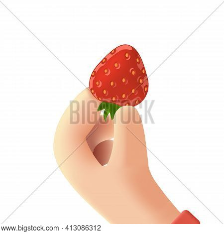 Strawberry In Hand. Red And Ripe Strawberry In Cartoon 3d Hand. Appetizing Fresh Strawberry Vector I