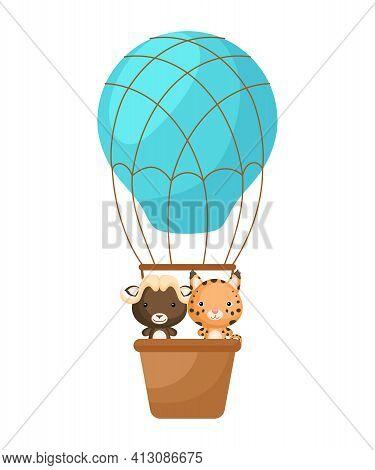 Cute Little Lynx, Musk-ox Fly On Blue Hot Air Balloon. Cartoon Character For Childrens Book, Album,