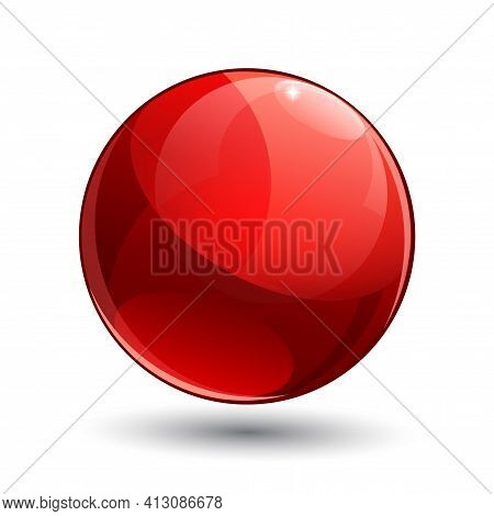 Shiny Gloss Red Map Pointer Icon. Vector