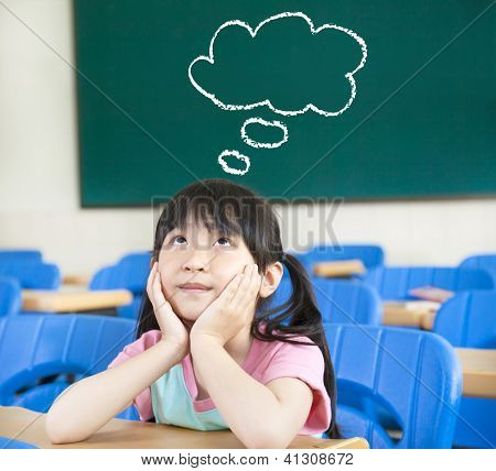 Little Girl In The Classroom With Thinking Cloud Symbol