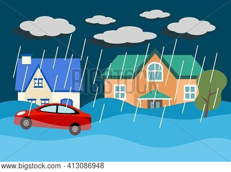 Flood Disaster In Village Concept Vector Illustration. Flooding House And Car Under Heavy Rains In F