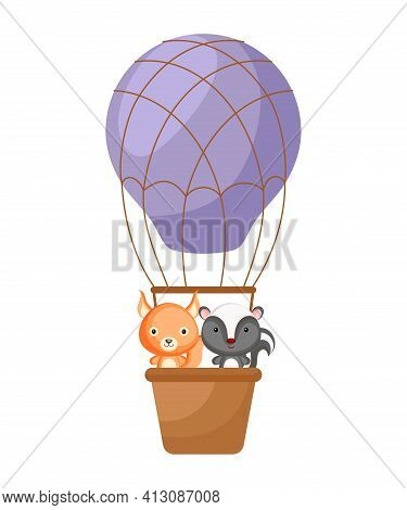 Cute Little Squirrel, Skunk Fly On Purple Hot Air Balloon. Cartoon Character For Childrens Book, Alb