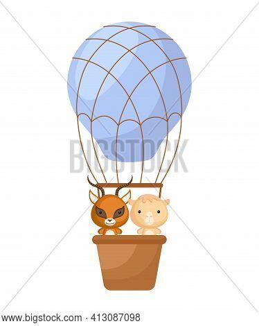 Cute Little Gazelle, Camel Fly On Blue Hot Air Balloon. Cartoon Character For Childrens Book, Album,