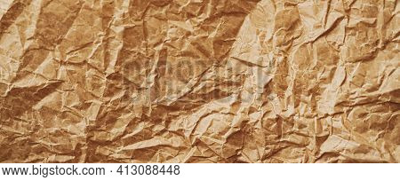 Crumpled Brown Parchment Paper Flatlay Background, Luxury Branding Flat Lay And Brand Identity Desig