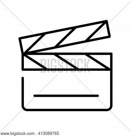 Monochrome Simple Clapperboard Icon Vector Illustration Outline Linear Logo Video Film Production