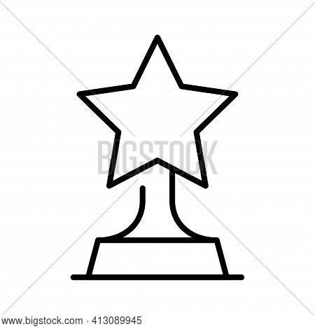Monochrome Reward Icon Vector Award Star Trophy Symbol Of Victory Win Triumph Success Achievement