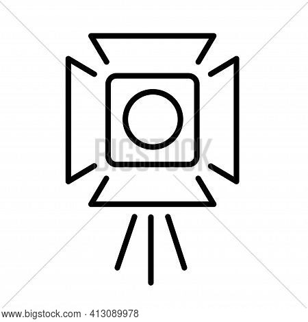 Cinema Industry Spotlight Monochrome Icon Vector Cinematic Equipment For Glowing Movie Production