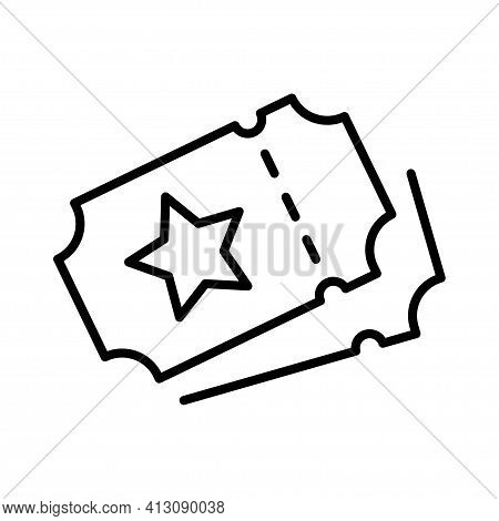 Simple Monochrome Ticket Icon With Star Logo Coupon Paper Pass Entry Document Event Or Purchase