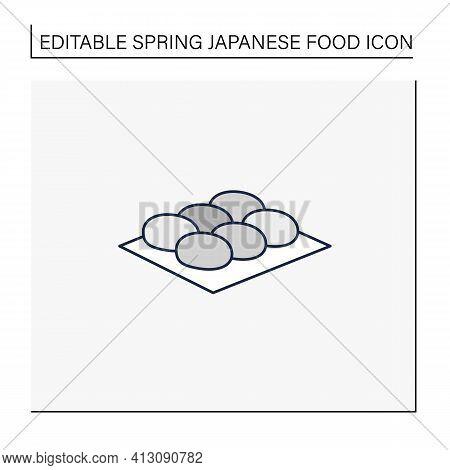 Botamochi Line Icon. Sweet Japanese Confection. Ohagi Dessert.spring Japanese Food Concept. Isolated