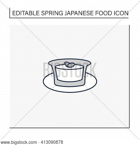 Almond Tofu Line Icon.traditional Japanese Dessert. Delicates. Annin Tofu.spring Japanese Food Conce