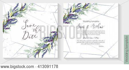 Floral Vector Template For Wedding Invitation. Lavender, Green Leaves. Vector Invitation Set.