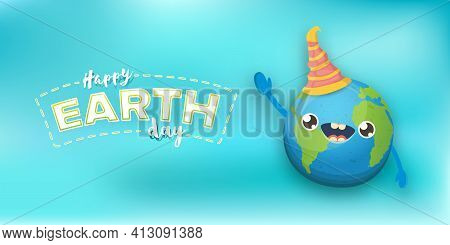 Cartoon Earth Day Horizontal Banner With Cute Smiling Earth Planet Character With Funny Hat Isolated