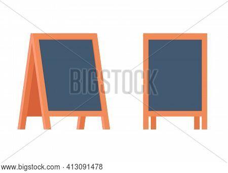 Blank Sandwich Board, Stand, Chalkboard For Special Menu Announcement Or Education. Clean Blackboard